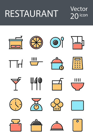 Restaurant set of icons in retro style with mixed color, the trend in 2017, an excellent solution for SEO, mobile applications, web sites, pixel perfect Vettoriali