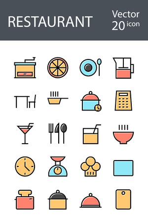 Restaurant set di icone in stile retrò con colore misto, la tendenza nel 2017, una soluzione eccellente per SEO, applicazioni mobili, siti web, pixel perfetto