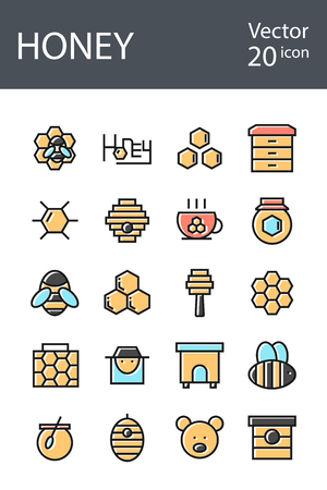 honey icons set in retro style with mixed color, the trend in 2017, an excellent solution for SEO, mobile applications, web sites, pixel perfect