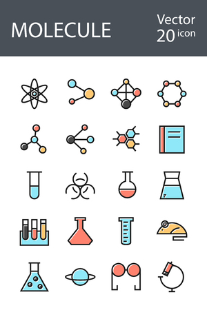 toxicology: molecule icons set in retro style with mixed color, the trend in 2017, an excellent solution for SEO, mobile applications, web sites, pixel perfect