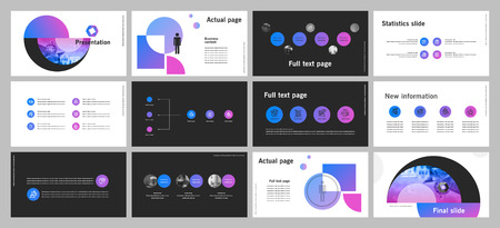 This template is the best as a business presentation, used in marketing and advertising, flyer and banner, the annual report. Elements on a dark grey background Vettoriali