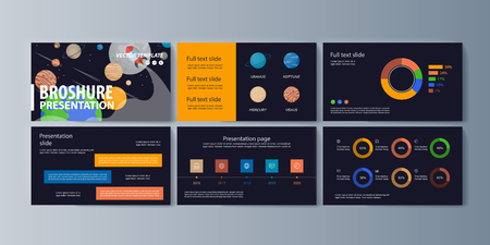 Set of brochures for space exploration and gravity research. Vector illustration Ilustração