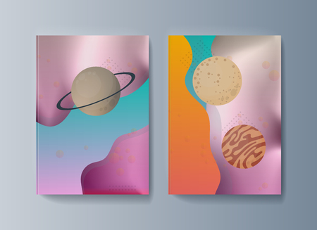 Set of brochures for space exploration and gravity research. Vector illustration Çizim