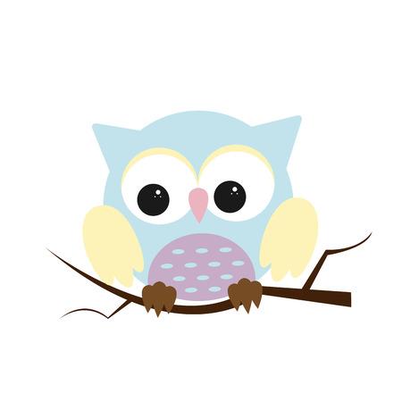 Owl night bird with big eyes. Colorful picture. Vector illustration Ilustração