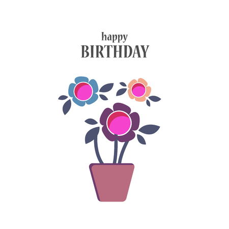 Colorful greeting card. Present Birthday. Congratulations on the holiday. Vector illustration Фото со стока - 122688113