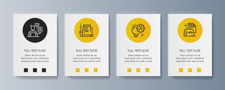Ensemble de brochures pour la commercialisation des produits et services de promotion sur le marché. Illustration vectorielle