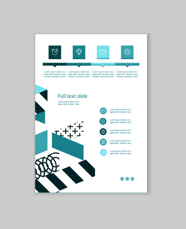 Business presentation brochure advertising goods and services. Vector illustration Ilustracja