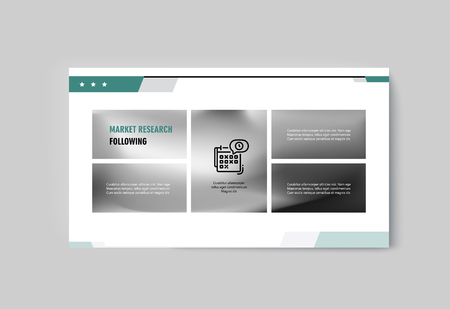 Business presentation brochure infographics advertising goods and services. Vector illustration