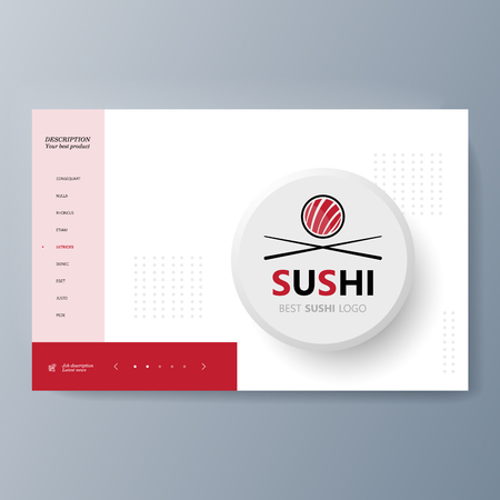 Business presentation Sushi advertising goods and services. Vector illustration Ilustrace
