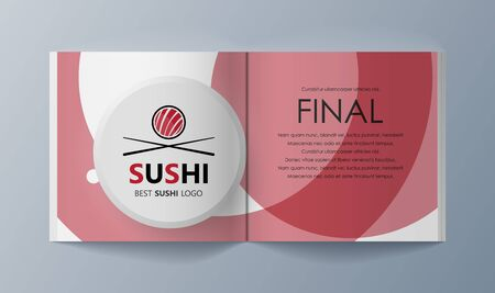 Set of brochures Sushi for marketing the promotion goods and services on market. Vector illustration