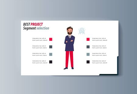 Business presentation brochure businessman advertising goods and services. Vector illustration