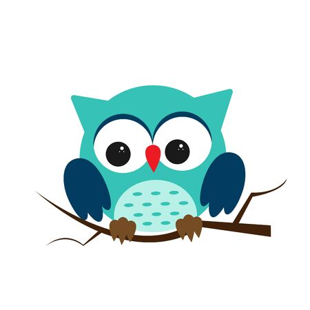 Owl night bird with big eyes. Colorful picture. Vector illustration