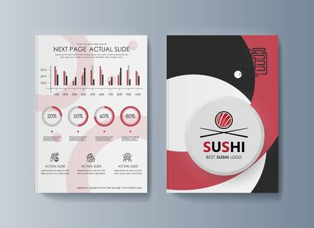 Set of brochures Sushi for marketing the promotion goods and services on market Çizim