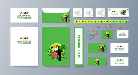 Set of brochures about Toucan bird and tropical flora