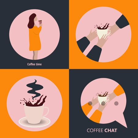 Coffee excellent drink always. Cool design. Colorful illustration