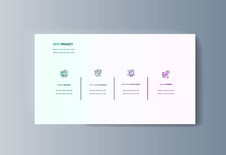 Business presentation brochure infographics advertising goods and services. Vector illustration 일러스트