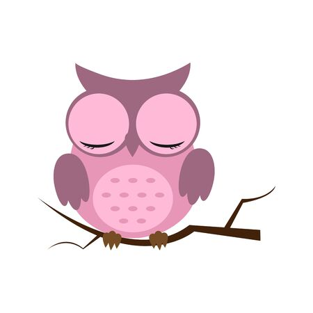 Owl night bird with big eyes. Colorful picture. Vector illustration Illustration