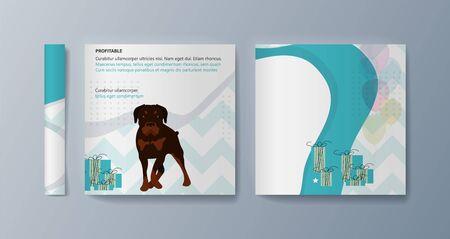 Set of brochures kit for pet purchase advertising. Vector illustration