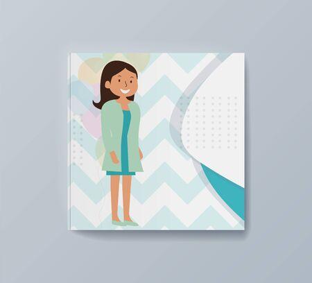 Little girl gift pet dream come true. Vector illustration