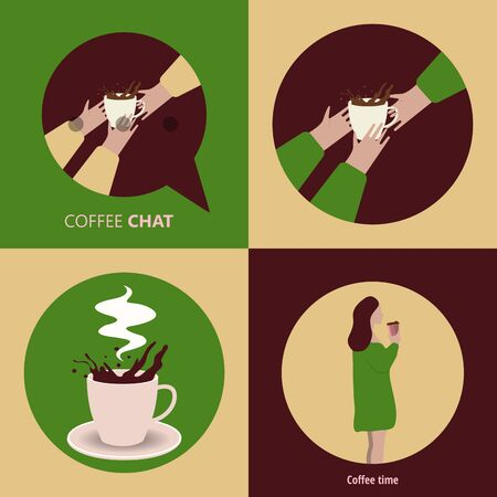 Coffee excellent drink always. Cool design. Colorful picture. Vector illustration Stok Fotoğraf - 130780365