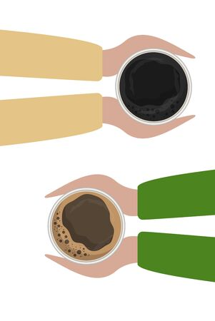 Coffee excellent drink always. Cool design. Colorful picture. Vector illustration