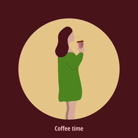 Coffee excellent drink always. Cool design. Colorful picture. Vector illustration Stok Fotoğraf - 130780372