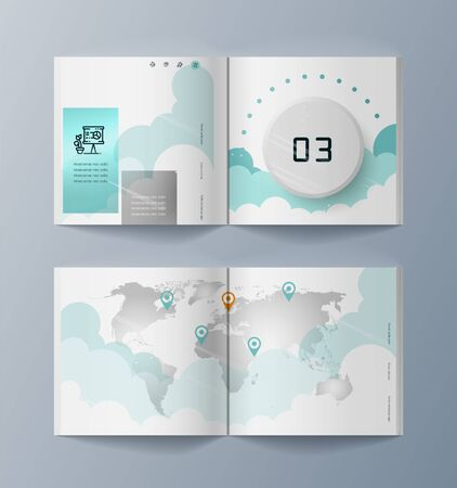 Set of brochures for marketing promotion and the delivery goods. Vector illustration Ilustrace