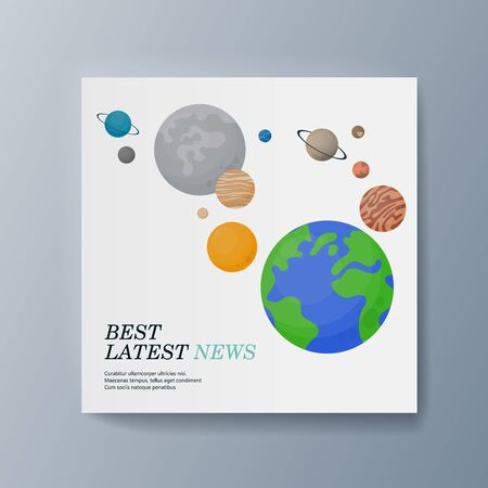 Business presentation brochure advertising the delivery of goods quickly and efficiently. Vector illustration