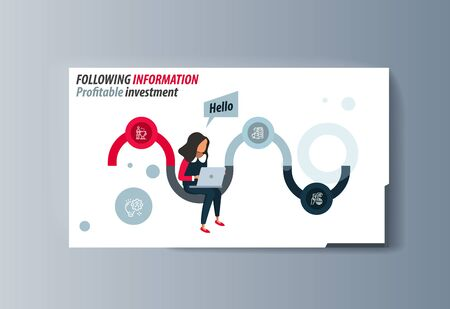 Business presentation brochure businesswoman advertising goods and services. Vector illustration