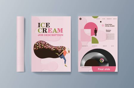 Set of brochures for marketing the promotion ice cream on market. Vector illustration