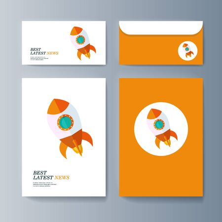 Set of brochures for marketing promotion and the delivery goods. Vector illustration Stock Illustratie