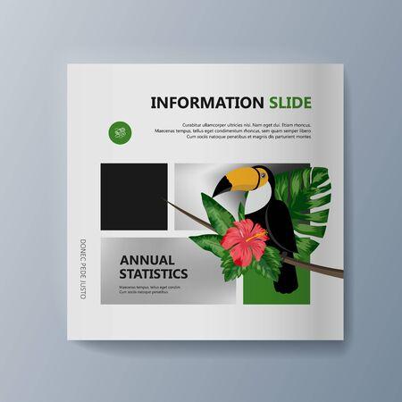 Description of the bird toucan and habitat. Vector illustration