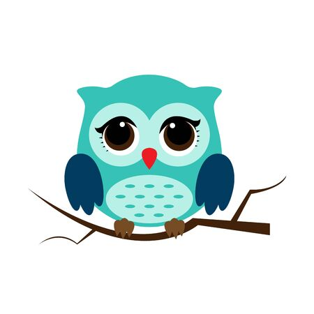 Owl night bird with big eyes. Colorful picture. Vector illustration 일러스트
