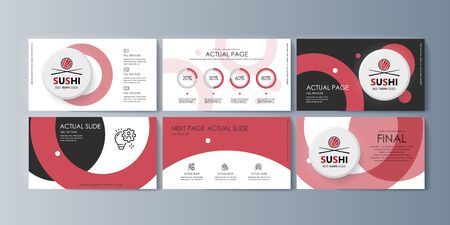 Set of brochures Sushi for marketing the promotion goods and services on market. Vector illustration Vettoriali