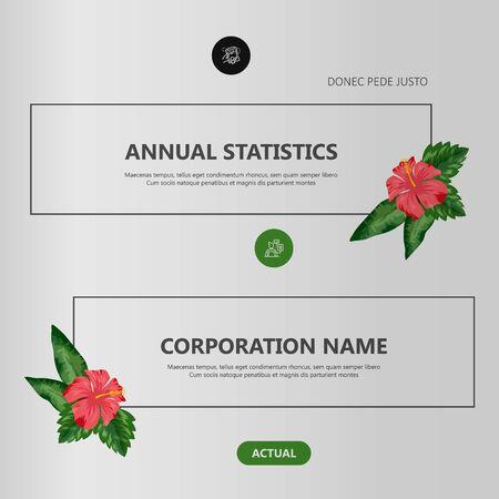 Tropical flowers classification plant description. Vector illustration Иллюстрация