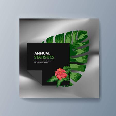 Beschreibung der Pflanzenklassifizierung tropischer Blumen. Vektor-Illustration
