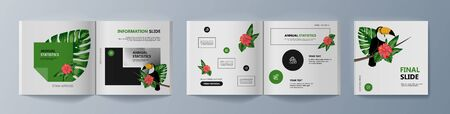 Set of brochures about Toucan bird and tropical flora. Vector illustration