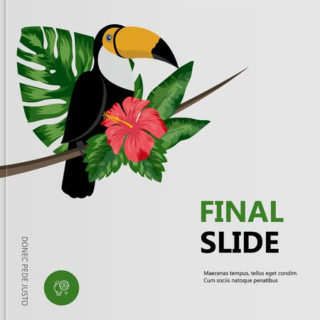 Toucan bird sits on flower tree in tropical forest. Vector illustration