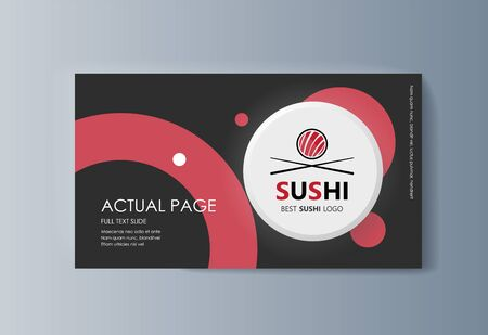 Business presentation Sushi advertising goods and services. Vector illustration Illustration