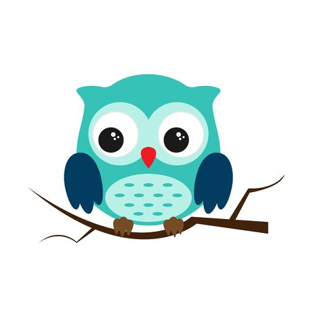 Owl night bird with big eyes. Colorful picture. Vector illustration 向量圖像