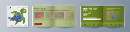Set of brochures for marketing promoting the idea environmental protection. Vector illustration Reklamní fotografie - 133614998