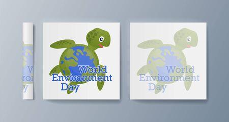 Set of brochures for marketing promoting the idea environmental protection. Vector illustration Reklamní fotografie - 133614997