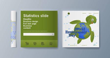 Set of brochures for marketing promoting the idea environmental protection. Vector illustration 版權商用圖片 - 133615099
