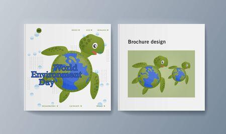 Set of brochures for marketing promoting the idea environmental protection. Vector illustration Reklamní fotografie - 133615100