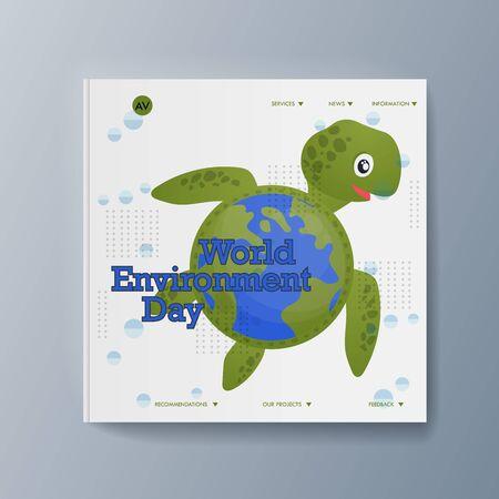 Business presentation brochure advertising the idea environmental protection. Vector illustration Illustration
