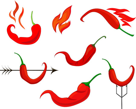 six vector design red hot chili peppers with arrows and fire