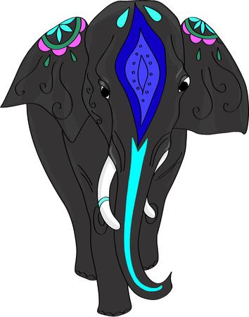 Indian decorated elephant. Vector illustration. Illustration