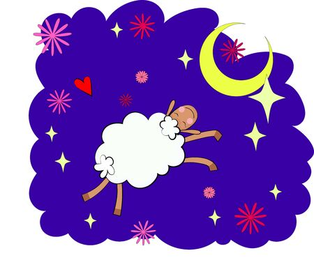 Bedtime design with a cute sheep and the sleepy moon. EPS 10. No gradients. Foto de archivo - 137724302