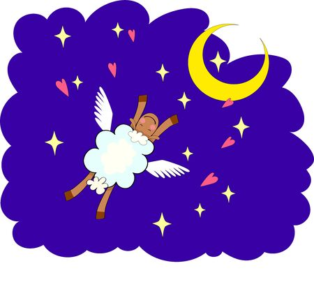 Bedtime design with a cute sheep and the sleepy moon. EPS 10. No gradients.