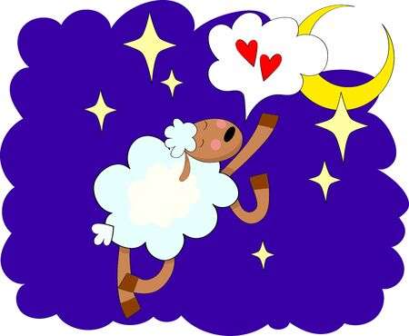 Hand drawn illustration with sheep, moon, stars and hearts. Colorful cute background vector.